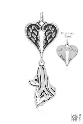 Personalized Sterling Silver Papillon Angel Necklace, Head