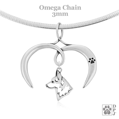 I Love My Pembroke Welsh Corgi Necklace, Sterling Silver Corgi necklace