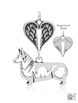 Personalized Sterling Silver Pembroke Welsh Corgi Angel Necklace, Body
