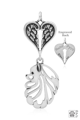 Sterling Silver Pomeranian Pendant, Head w/Healing Angels -- new