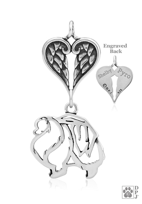 Sterling Silver Pomeranian Pendant, Body w/Healing Angels -- new