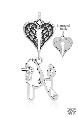 Personalized Sterling Silver Poodle Angel Necklace, Body