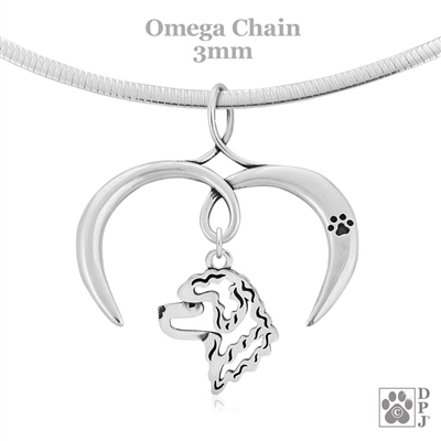 I Love My Portuguese Water Dog Necklace, Sterling Silver Portuguese Water Dog necklace
