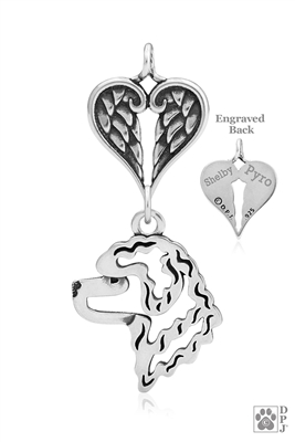 Personalized Sterling Silver Portuguese Water Dog Pendant, Head w/Healing Angels
