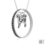 Sterling Silver Portuguese Water Dog Necklace w/Paw Print Enhancer, Body