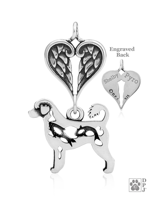 Personalized Sterling Silver Portuguese Water Dog Angel Necklace, Body