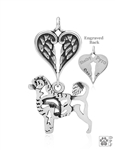 Sterling Silver Portuguese Water Dog Pendant, Lion Cut, Body w/Healing Angels -- new