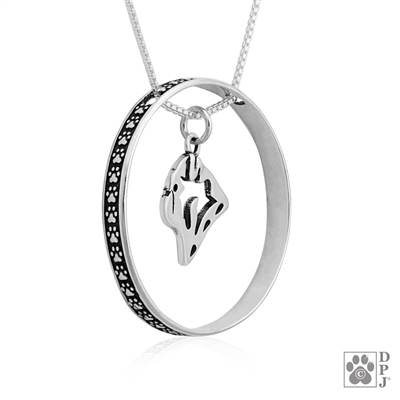 Sterling Silver Pug Necklace w/Paw Print Enhancer, Head