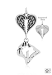 Sterling Silver Pug Pendant, Head w/Healing Angels -- new