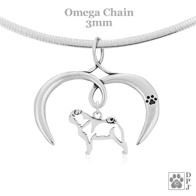 I Love My Pug Necklace, Sterling Silver Pug necklace