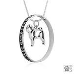 Sterling Silver Pug Necklace w/Paw Print Enhancer, Body