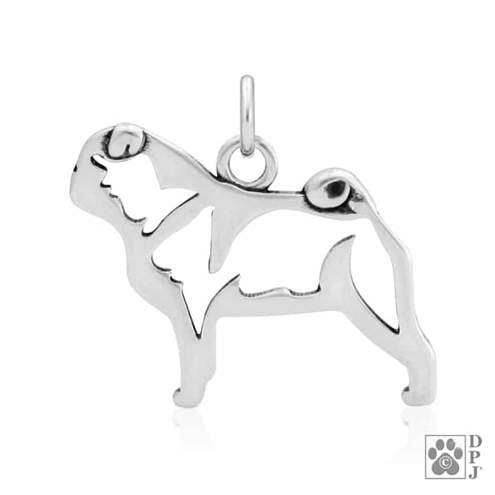 Pug Pendant Pug Dog Breed Jewelry Pug Charm Sterling Silver Pug