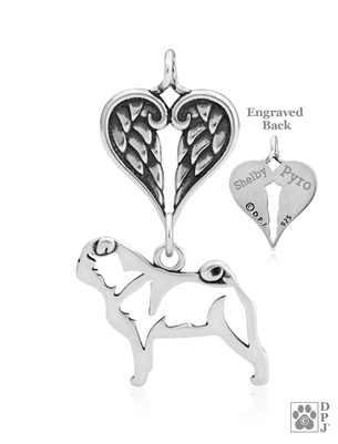Sterling Silver Pug Pendant, Body w/Healing Angels -- new