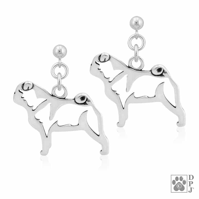 Black Pug Earrings - Sterling Silver Tj3NV