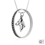 Sterling Silver Rat Terrier Necklace w/Paw Print Enhancer, Head