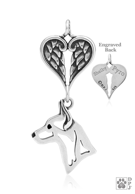 Sterling Silver Rat Terrier Pendant, Head w/Healing Angels -- new
