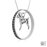 Sterling Silver Rat Terrier Necklace w/Paw Print Enhancer, Body
