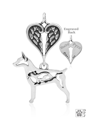 Sterling Silver Rat Terrier Pendant, w/Rat in Body, w/Healing Angels -- new