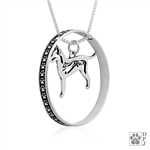 Sterling Silver Rat Terrier Pendant, Long Tail, w/Squirrel in Body, w/Colossal Blinger -- new