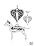 Personalized Sterling Silver Rat Terrier Angel Necklace, Body