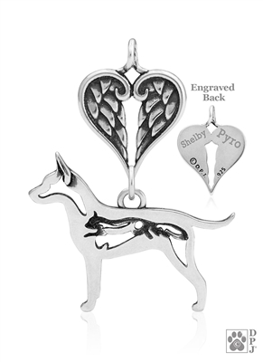 Sterling Silver Rat Terrier Pendant, w/Squirrel in Body, w/Healing Angels -- new