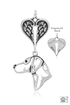 Personalized Sterling Silver Rhodesian Ridgeback Angel Necklace, Head