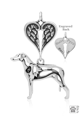 Personalized Sterling Silver Rhodesian Ridgeback Angel Necklace, Body
