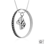 Sterling Silver Rottweiler Necklace w/Paw Print Enhancer, Head