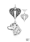 Sterling Silver Rottweiler Pendant, Head w/Healing Angels -- new