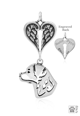 Personalized Sterling Silver Rottweiler Pendant, Head w/Healing Angels