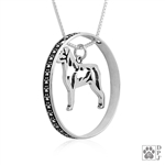 Sterling Silver Rottweiler Necklace w/Paw Print Enhancer, Body