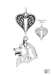 Sterling Silver Samoyed Pendant, Head w/Healing Angels -- new