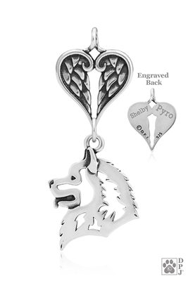 Personalized Sterling Silver Samoyed Angel Necklace, Head