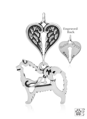 Sterling Silver Samoyed Pendant, w/Sled in Body, w/Healing Angels -- new