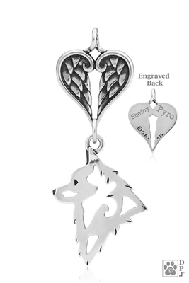 Sterling Silver Schipperke Pendant, Head w/Healing Angels -- new