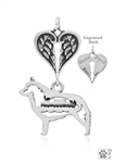 Sterling Silver Schipperke Pendant, w/Barge in Body, w/Healing Angels -- new