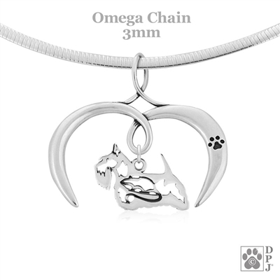 I Love My Scottie Necklace, Sterling Silver Scottish Terrier necklace