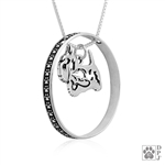 Sterling Silver Scottish Terrier Necklace w/Paw Print Enhancer, Body