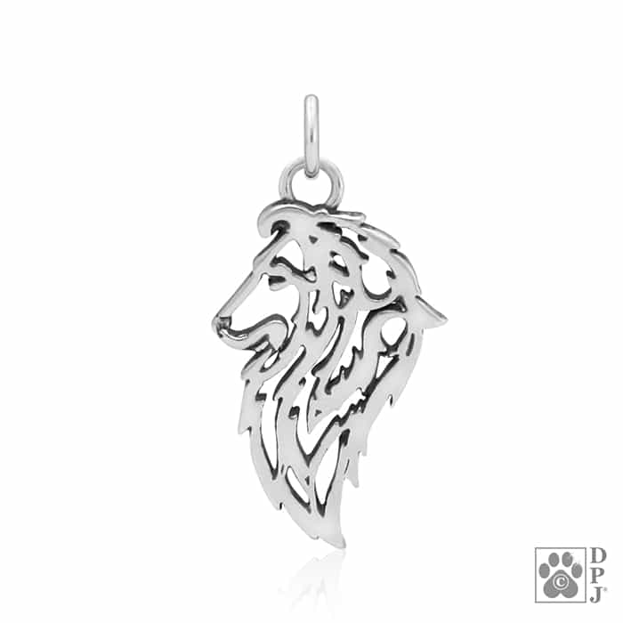 Collie Sheltie Dog Small Charm Pendant STERLING SILVER
