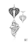 Sterling Silver Shetland Sheepdog Pendant, Head w/Healing Angels -- new