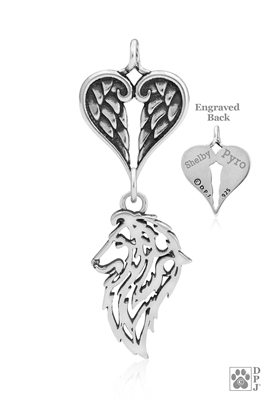 Personalized Sterling Silver Shetland Sheepdog Angel Necklace, Head