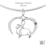 I Love My Sheltie Necklace, Sterling Silver Shetland Sheepdog necklace