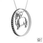Sterling Silver Shetland Sheepdog Necklace w/Paw Print Enhancer, Body