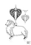 Sterling Silver Shetland Sheepdog Pendant, Body w/Healing Angels -- new