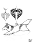 Sterling Silver Shetland Sheepdog Jumping Pendant, Body w/Healing Angels -- new