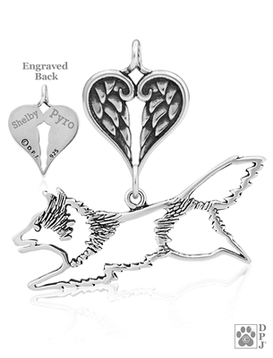 Personalized Sterling Silver Shetland Sheepdog Jumping Pendant, Body w/Healing Angels
