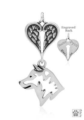 Personalized Sterling Silver Shiba Inu Pendant, Head w/Healing Angels
