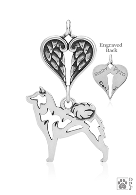 Sterling Silver Shiba Inu Pendant, Body w/Healing Angels -- new