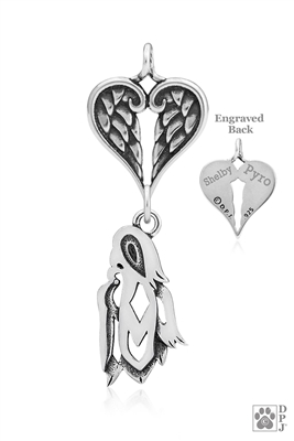 Sterling Silver Shih Tzu Show Cut Pendant, Head w/Healing Angels -- new