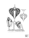 Sterling Silver Shih Tzu Show Cut Pendant, Body w/Healing Angels -- new